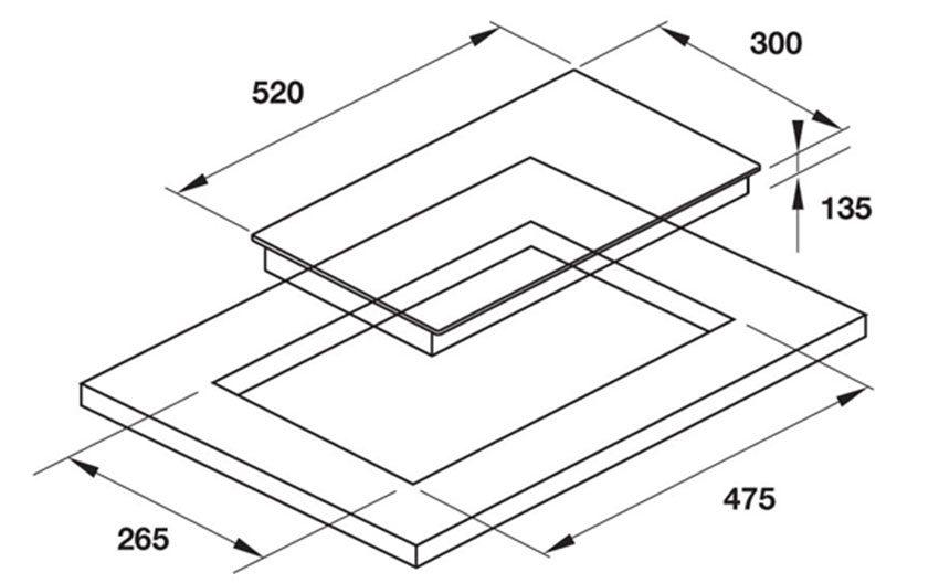 Kích thước của bếp gas Domino Hafele HC-G301B